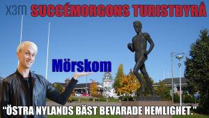 Lasse Viréns staty i Mörskom, Succémorgons tursitbyrå
