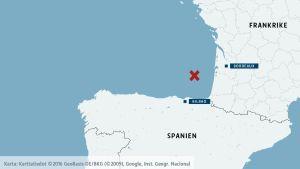 Karta över Biscayabukten.