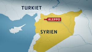 Karta över Syrien med Aleppo