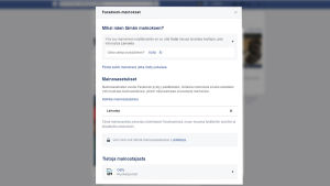 Esimerkki Facebook-mainoksen kohdentamisperusteista.