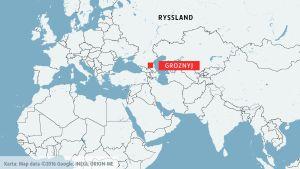 Karta som visar Groznyj, huvudstad i den autonoma ryska republiken Tjetjenien