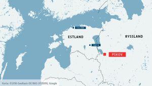 Karta över Estland och Ryssland med Pskov utmärkt.
