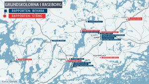 En karta som visar grundskolorna i Raseborg plus vilka som i en konsultrapport våren 2016 föreslås stängas.