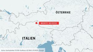 Karta över Monte Nevoso.