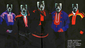 Grafisk affisch av den samiska konstnärsgruppen Suohpanterror.