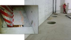 Hål i cementgolv på bygge