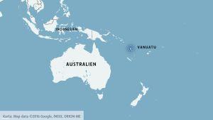 Jordbävning på Vanuatu i Stilla Havet.