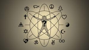 Graafinen kuva, jossa keskellä ihmisen hahmo, ympärillä erilaisia uskonnollisia symboleja.