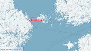 Karta över olycksplats på Ålands hav.