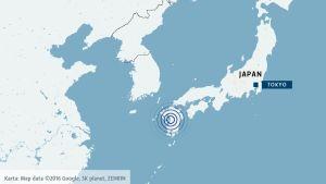 Jordskalv på ön Kyushu i Japan.
