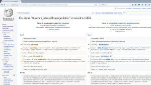 Kuvakaappaus Wikipedian sivun muutoshistoriasta