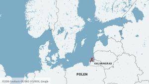 Karta över Östersjön med Kalinigrad och Baltijsksundet.