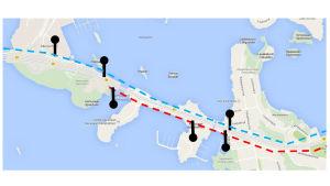 Rött markera öppnad kollektivfil österut, blått markerar öppna kollektivfil västerut.