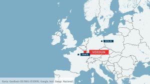 Karta med Verdun, Paris och Berlin inritade.