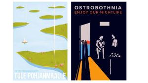 Sami Kaarakainens och Tintin Rosviks bidrag till Österbotten-affischen. Sami Kaarakainens vinnande bidrag består av ett österbottniskt skärgådslandskap. Tintin Rosviks bidrag består av en mörk bastuscen där dörren står öppen ut mot havet och solnedgången