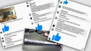 Skärmdumpar av diskussioner på Soldiers of Odins privata facebookgrupper.