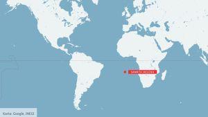 Karta som visar var Sankta Helena är belägen