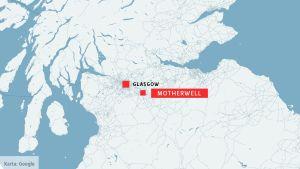 Karta över Motherwell och Glasgow i Skottland.