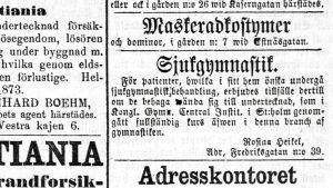 Rosina Heikels annons i Hufvudstadsbladet den 5 februari 1873.