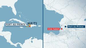 Karta över Port-Au-Prince och slumområdet Cité Soleil.