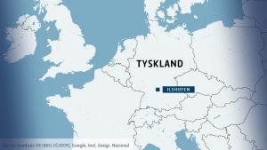 Karta över Tyskland och staden Ilshofen.