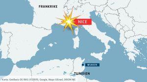 Karta med Nice och Msaken i Tunisien.
