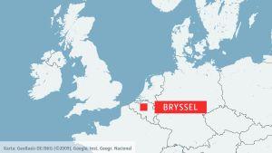 Karta med Bryssel.