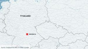 Karta på Ansbach i Tyskland.