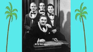 Onni Gideonin yhtye lei-seppeleet kaulassa: seisaalla Mauri Mustonen, Erik Lindström, Wille Katz, edessä havaijikitaraa soittava Onni Gideon.