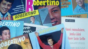 Robertino Loretin äänilevyjä ja hänestä kertovia lehtijuttuja 1960-luvulta.