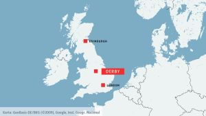karta över Storbritannien och Derby.