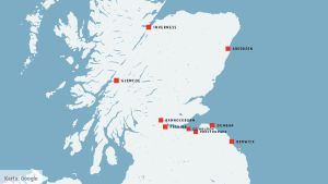 Karta över Skottland.