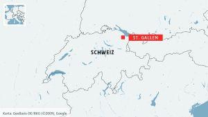 Karta som visar St. Gallen i Schweiz