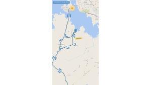 Cykelkarta över den olympiska sträckan i Vasa sun city triathlon 2016