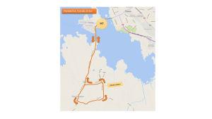 Cykelkarta över sprintsträckan i Vasa sun city triathlon 2016