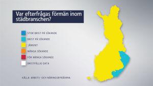 I östra Finland finns det brist på förmän inom städbranschen.