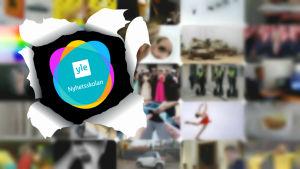 Ett kollage med olika nyhetsbilder samt Yle Nyhetsskolans logo.