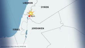 Larta över Israel ocg Syrien med Golanhöjderna.
