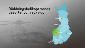 läkarhelikoptrarnas räckvidd märkt på Finlands karta