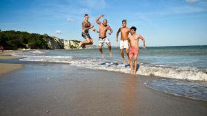 Christoffer Toffe Forsman (t.v.) deltar i årets upplaga av den finska versionen av Ex on the Beach. Här tillsammans med deltagarna Jyri, Tatu och Luka.