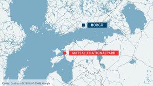 Karta över Borgå och Matsalu nationalpark