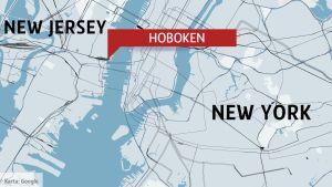 Karta över New Jersey och Hoboken.