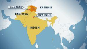 En karta som visar Kashmir, Indien och Pakistan