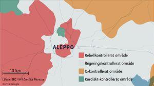 En grafisk karta av krigets Aleppo, Syrien
