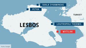 Karta över den grekiska ön Lesbos.