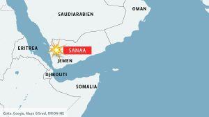 Karta över Jemen och grannländerna.