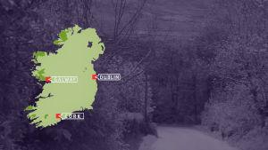 De flesta av Irlands iriskspråkiga områden ligger vid västkusten.