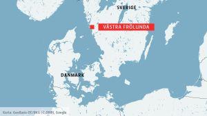 Karta över Sverige och Västra Frölunda i Göteborg.