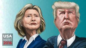 Karikatyr av Hillary Clinton och Donald Trump.
