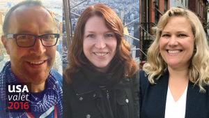 Bildcollage av svenska Yles reportrar Christian Vuojärvi, Lotte Krank-van de Burgt och Johanna Törn-Mangs.